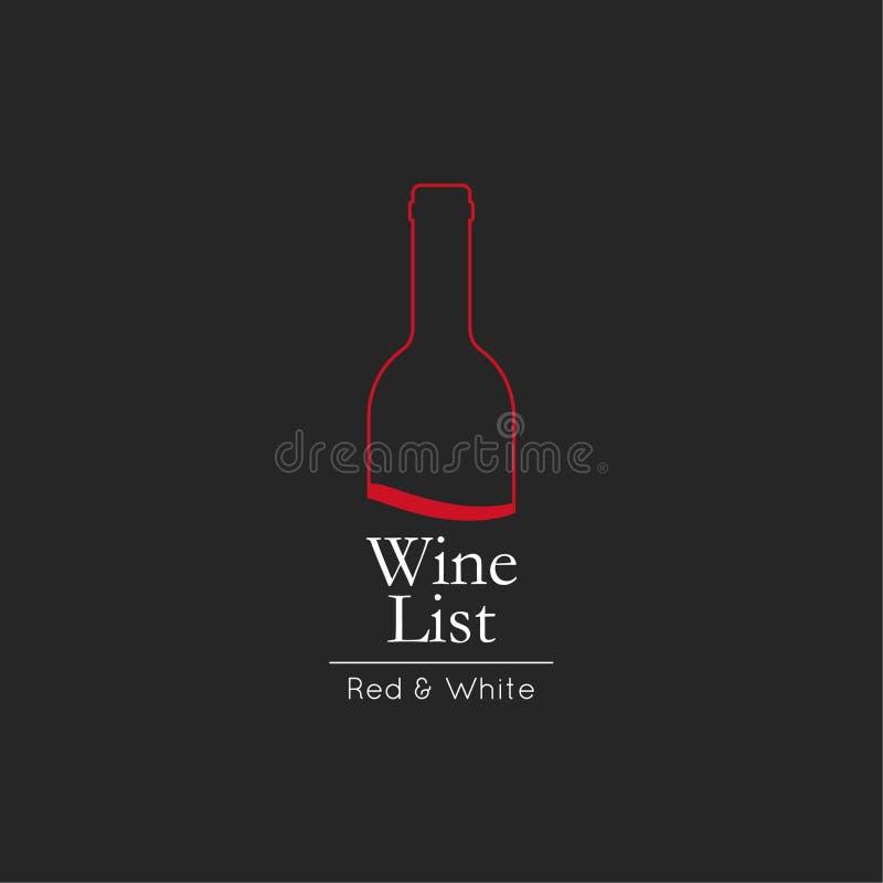 Modello di progettazione di carta del menu della lista di vino illustrazione vettoriale