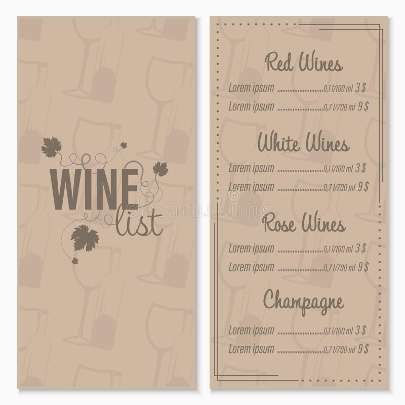 Modello di progettazione di carta del menu della lista di vino con i vetri e la bottiglia di vino nei precedenti illustrazione di stock
