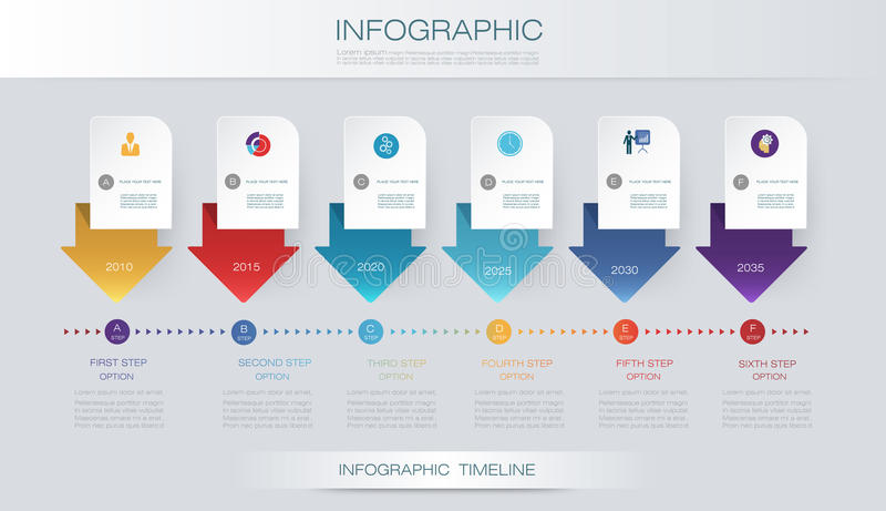 Modello di progettazione di cronologia di infographics di vettore con le opzioni di punti dell'etichetta e del grafico 6 della ca royalty illustrazione gratis