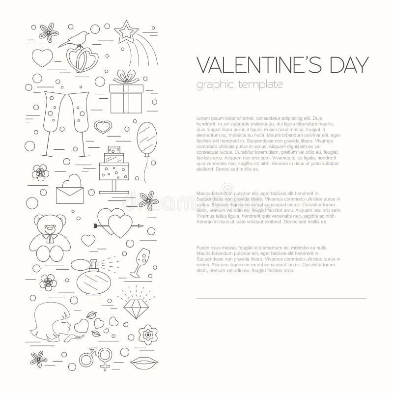 Modello di progettazione di giorno di biglietti di S. Valentino Elementi grafici con i cuori illustrazione di stock