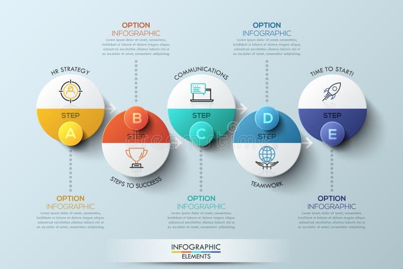 Modello di progettazione di Infographic con gli elementi circolari, 5 punti al concetto di affari di successo illustrazione di stock