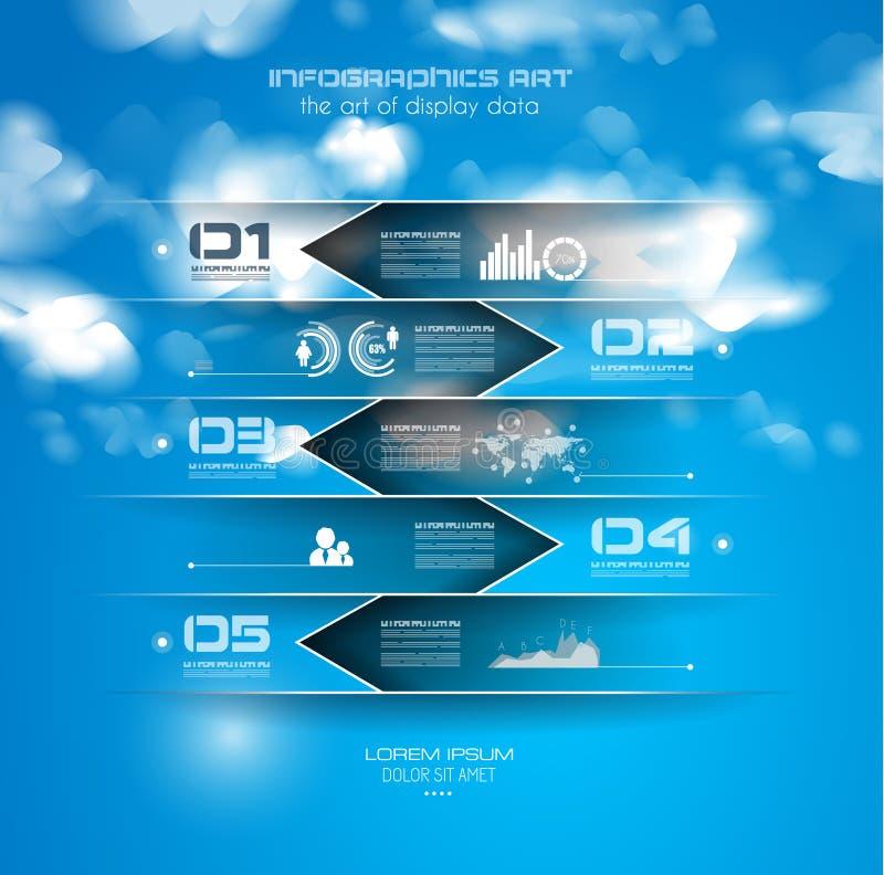 Modello di progettazione di Infographic con le etichette di carta illustrazione vettoriale