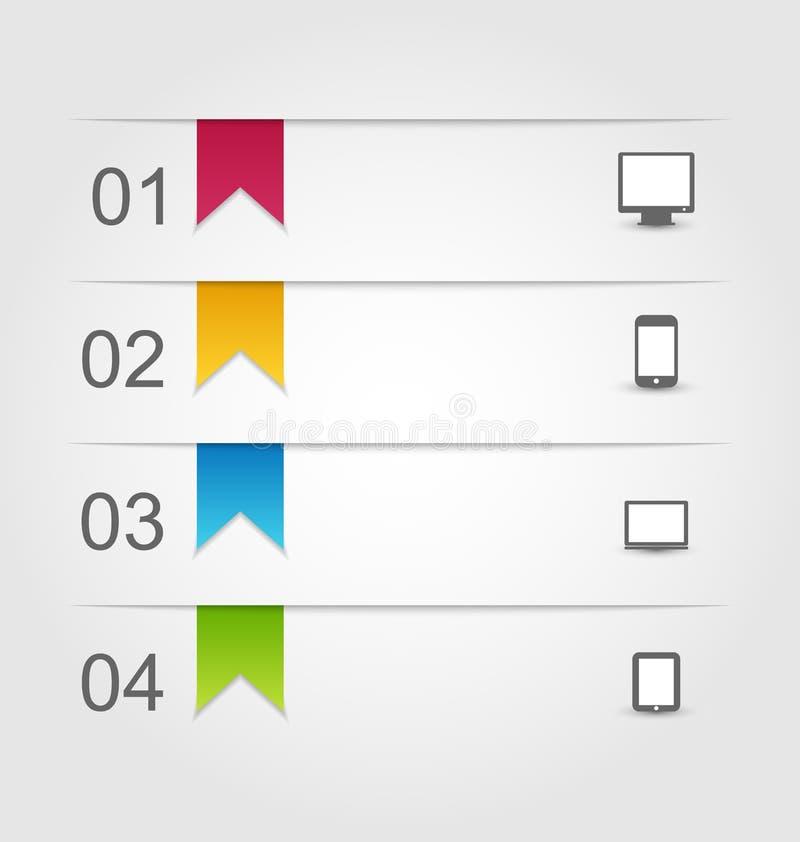 Modello di progettazione di Infographic con le etichette di carta con la e illustrazione vettoriale