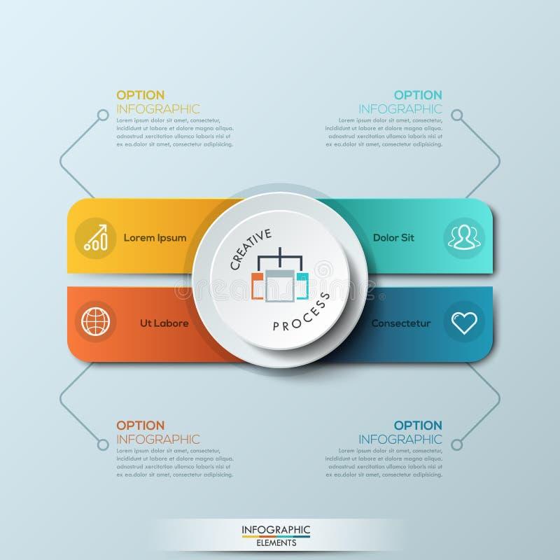 Modello di progettazione di Infographic con 4 rettangoli arrotondati separati dei colori e del cerchio differenti illustrazione di stock