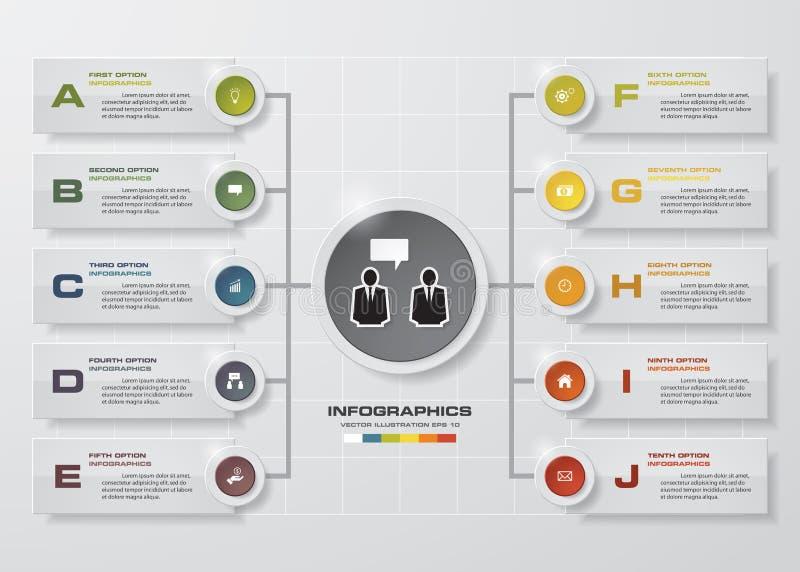 Modello di progettazione di Infographic e concetto di affari con 10 opzioni, parti, punti o processi illustrazione di stock