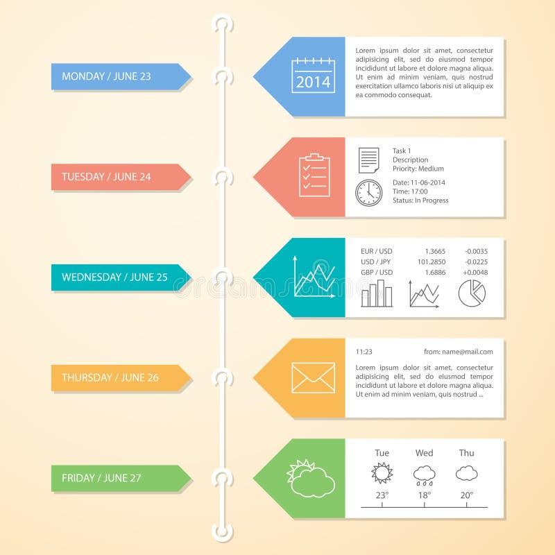 Modello di progettazione di Infographics di cronologia illustrazione vettoriale