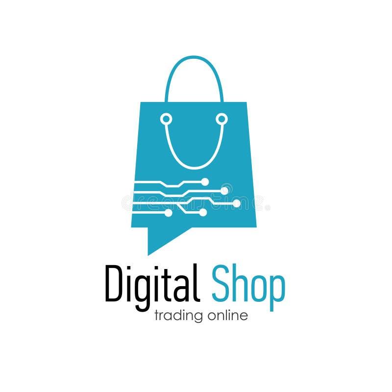 Modello di progettazione di logo del negozio di Digital royalty illustrazione gratis