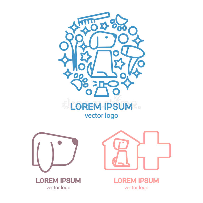 Modello di progettazione di logo di vettore con un cane illustrazione vettoriale