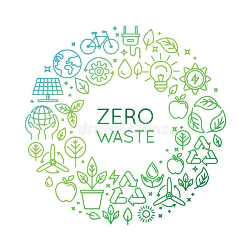 Modello di progettazione di logo di vettore - concetto residuo zero illustrazione vettoriale