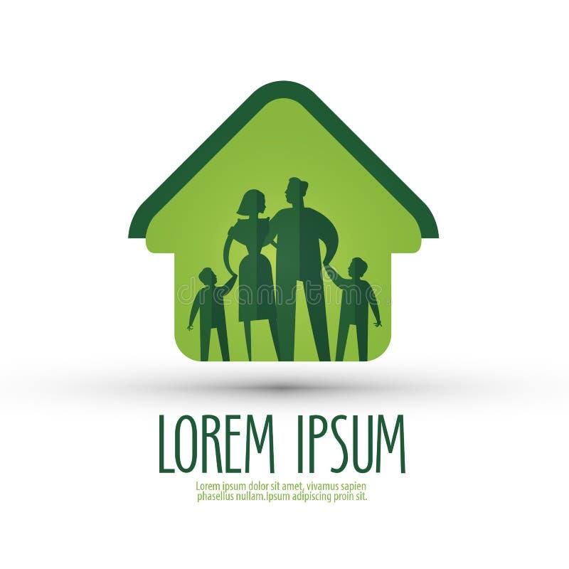 Modello di progettazione di logo di vettore della famiglia casa o illustrazione vettoriale