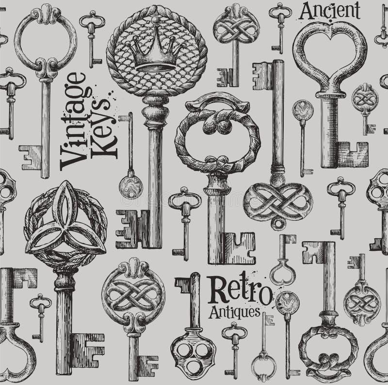 Modello di progettazione di logo di vettore di chiavi dell'annata antiques royalty illustrazione gratis