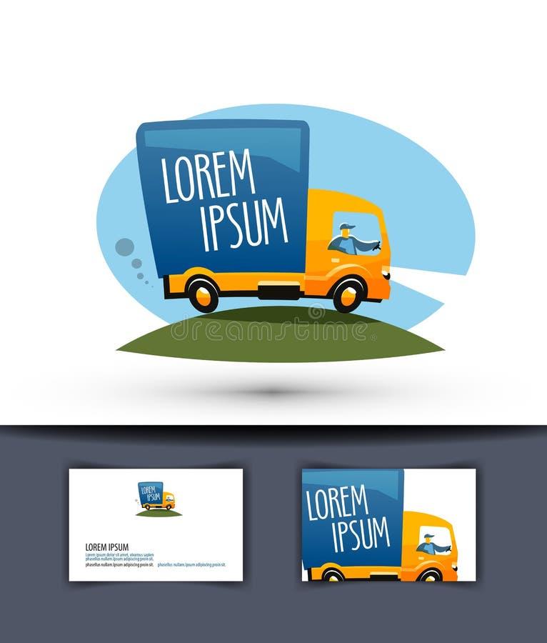 Modello di progettazione di logo di vettore di consegna camion o royalty illustrazione gratis