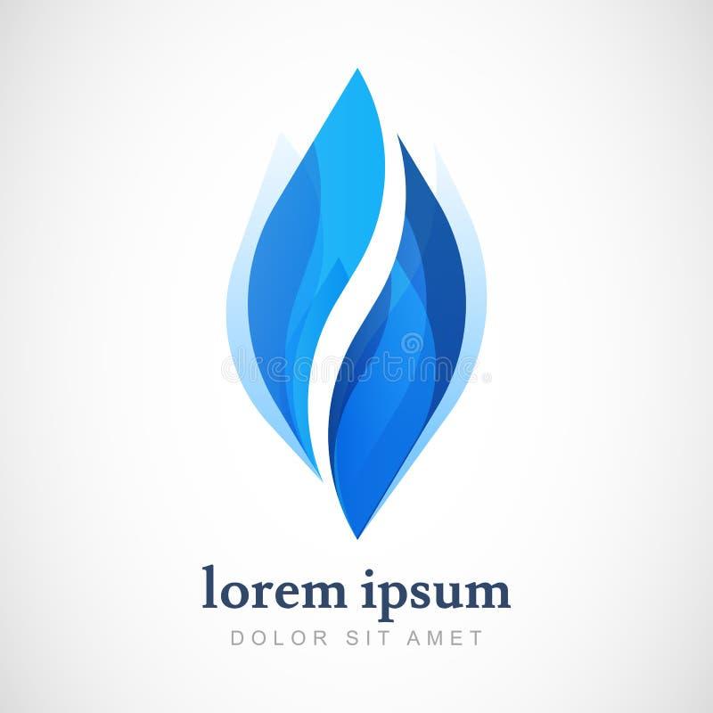 Modello di progettazione di logo di vettore Goccia di acqua blu astratta, shap dell'onda royalty illustrazione gratis