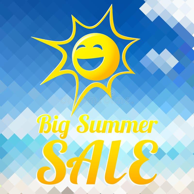 Modello di progettazione di vendita di estate con il sole sorridente royalty illustrazione gratis