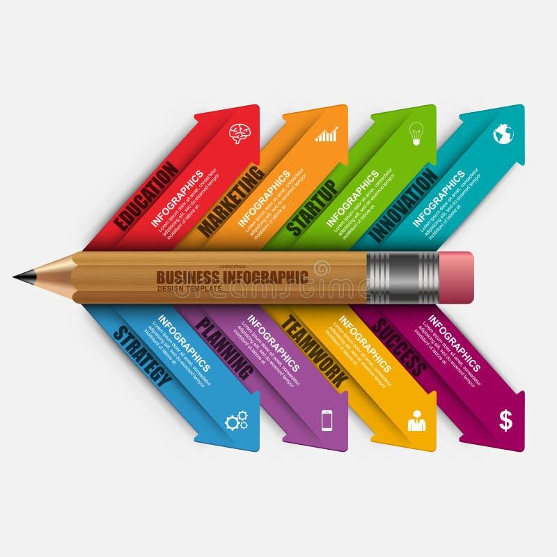 Modello di progettazione di vettore della matita di istruzione di affari di Infographic illustrazione di stock