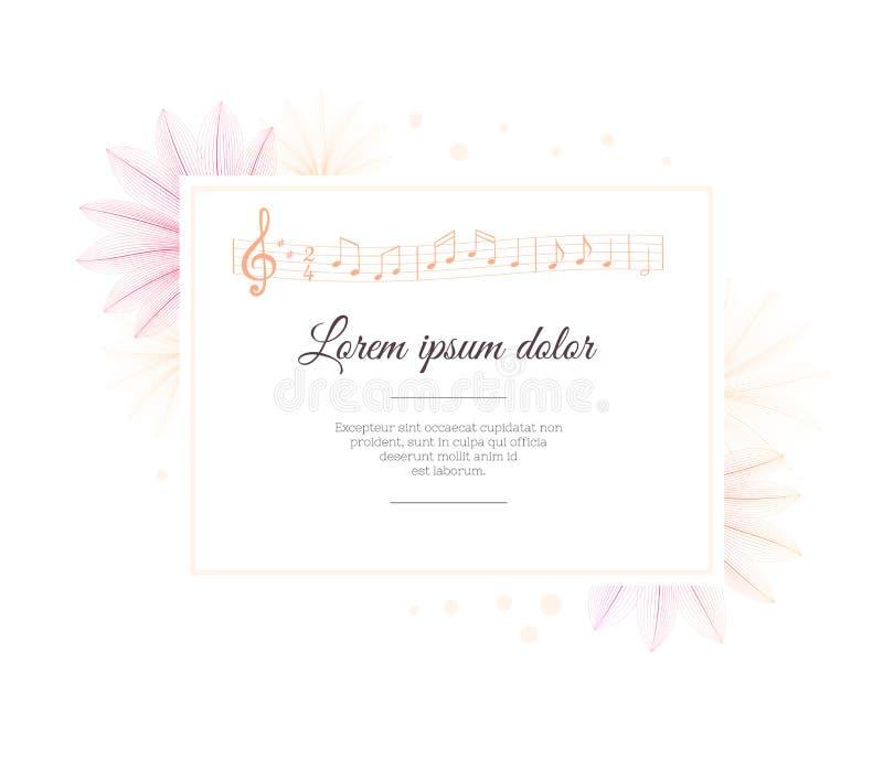 Modello di progettazione floreale Effetto dei raggi x del fiore Strato della nota di musica Melodia musicale fotografie stock libere da diritti
