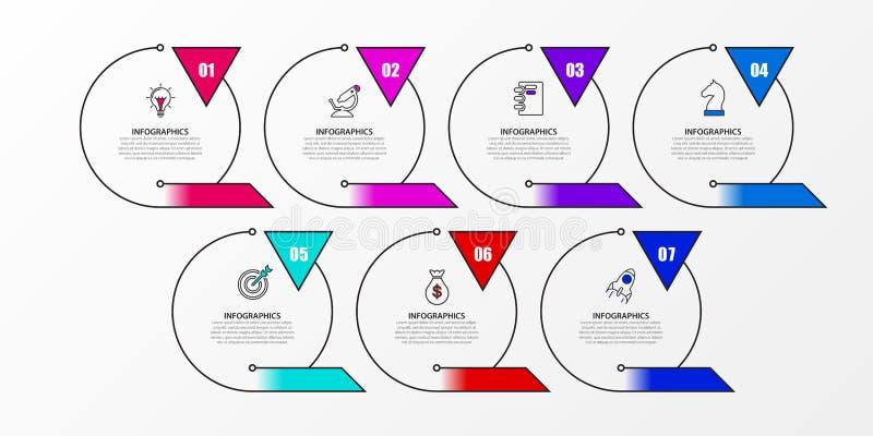 Modello di progettazione di Infographic Concetto creativo con 7 punti Può essere usato per la disposizione di flusso di lavoro, i illustrazione vettoriale