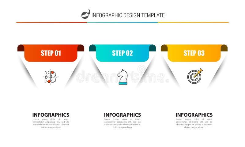 Modello di progettazione di Infographic Concetto creativo con 3 punti illustrazione vettoriale