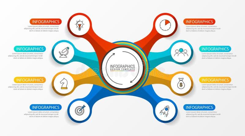 Modello di progettazione di Infographic Concetto creativo con 8 punti royalty illustrazione gratis