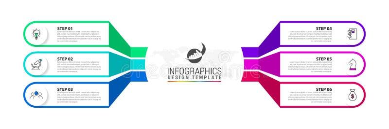 Modello di progettazione di Infographic Concetto creativo con 6 punti illustrazione di stock