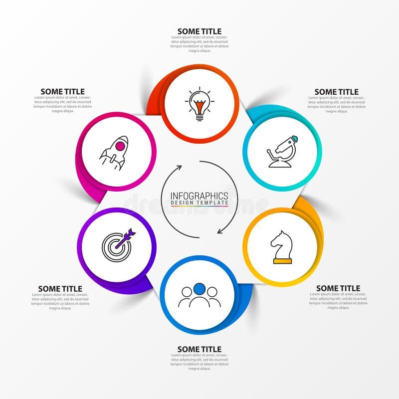 Modello di progettazione di Infographic Concetto creativo con 6 punti royalty illustrazione gratis