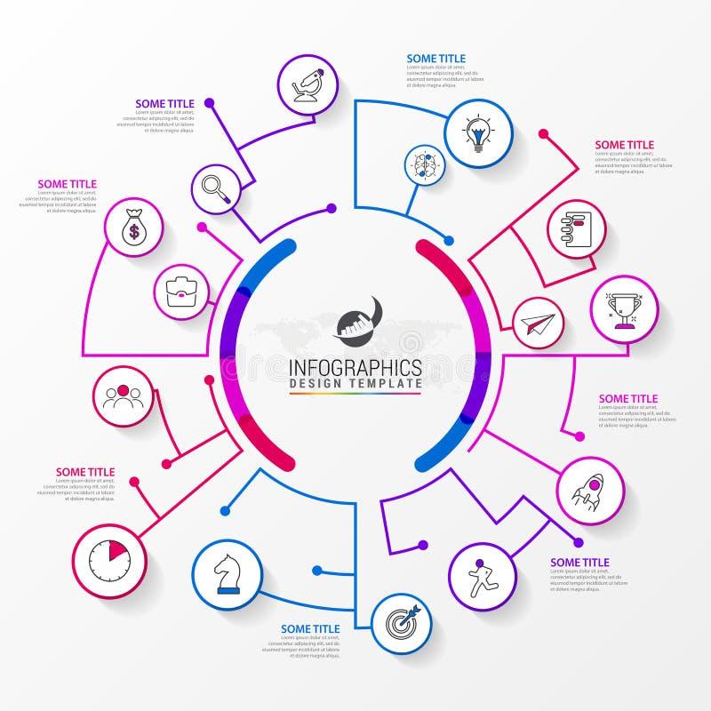 Modello di progettazione di Infographic Concetto creativo con 8 punti illustrazione di stock