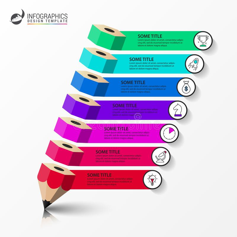 Modello di progettazione di Infographic Concetto creativo con 7 punti illustrazione di stock