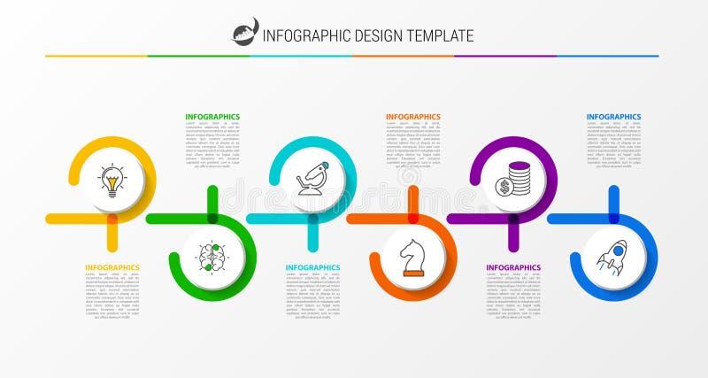 Modello di progettazione di Infographic Concetto di cronologia con 6 punti illustrazione di stock