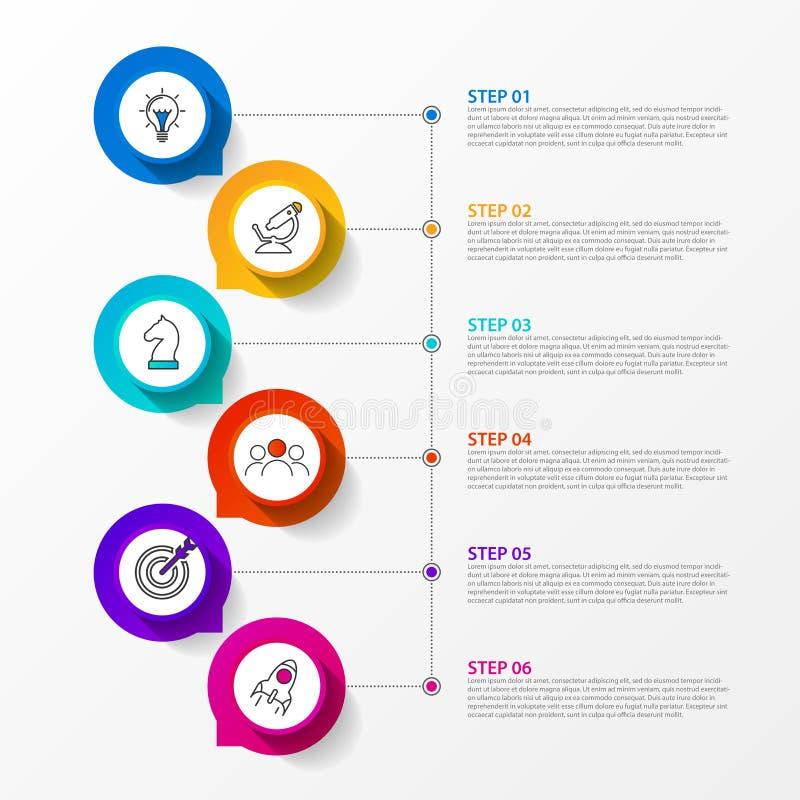 Modello di progettazione di Infographic Concetto di cronologia con 6 punti illustrazione vettoriale