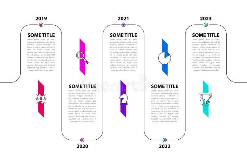 Modello di progettazione di Infographic Concetto di cronologia con 5 punti royalty illustrazione gratis