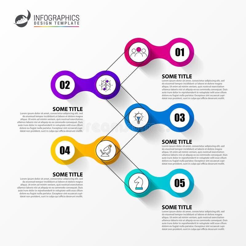 Modello di progettazione di Infographic Concetto di cronologia con 5 punti illustrazione di stock