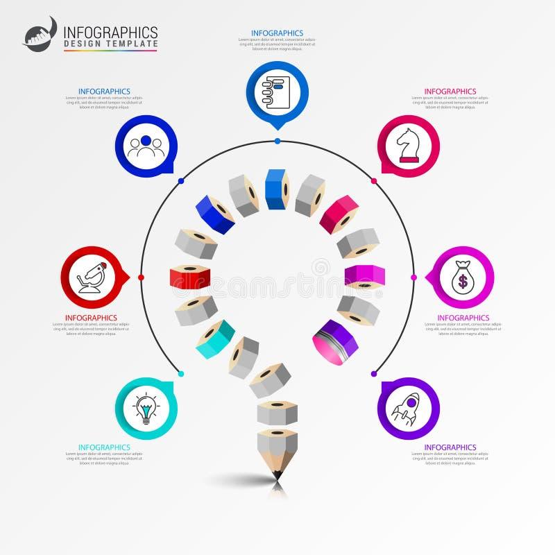 Modello di progettazione di Infographic Concetto di istruzione con 7 punti illustrazione di stock