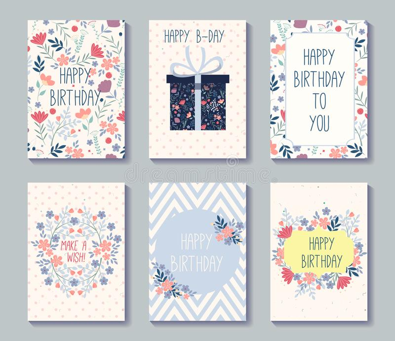 Modello di progettazione di insieme di compleanno con i fiori Raccolta di belle cartoline d'auguri Illustrazione di vettore royalty illustrazione gratis