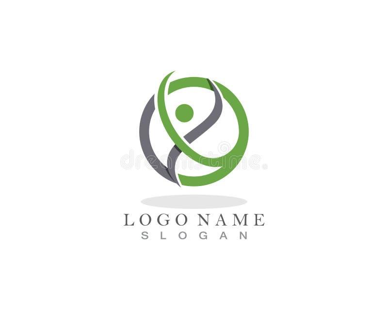 Modello di progettazione di logo di cura della gente di salute illustrazione vettoriale