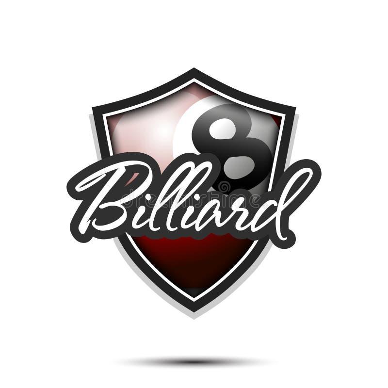 Modello di progettazione di logo del biliardo illustrazione di stock