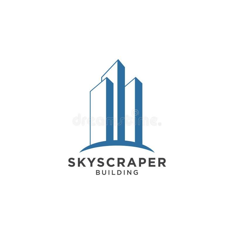 Modello di progettazione di logo del grattacielo illustrazione di stock