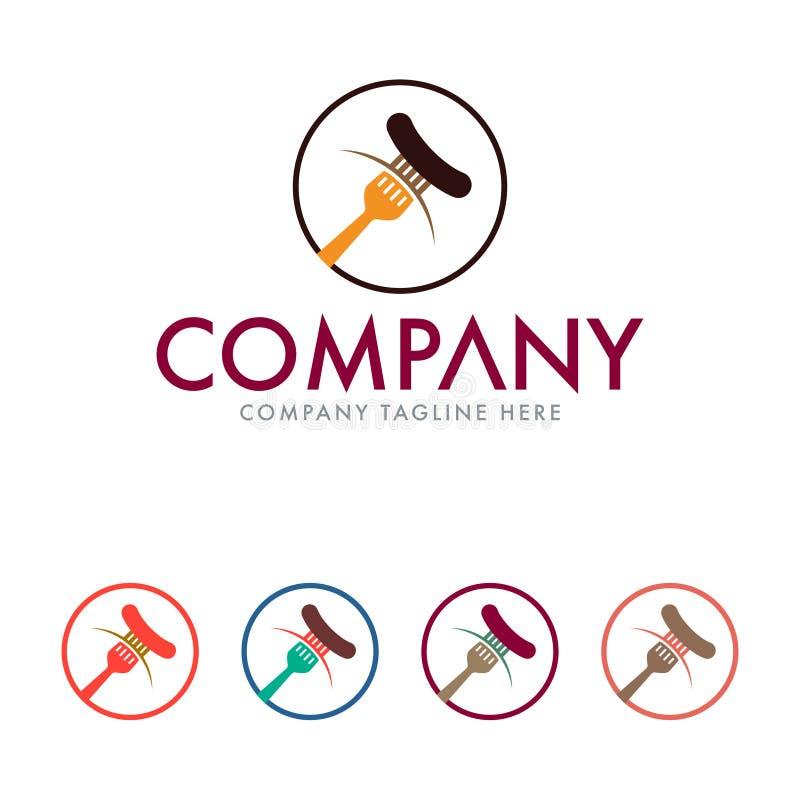 Modello di progettazione di logo del ristorante Modello di logo dell'hot dog royalty illustrazione gratis