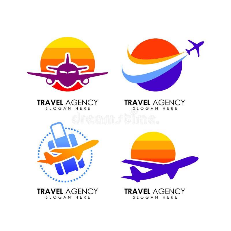 Modello di progettazione di logo dell'agenzia di viaggi illustrazione vettoriale