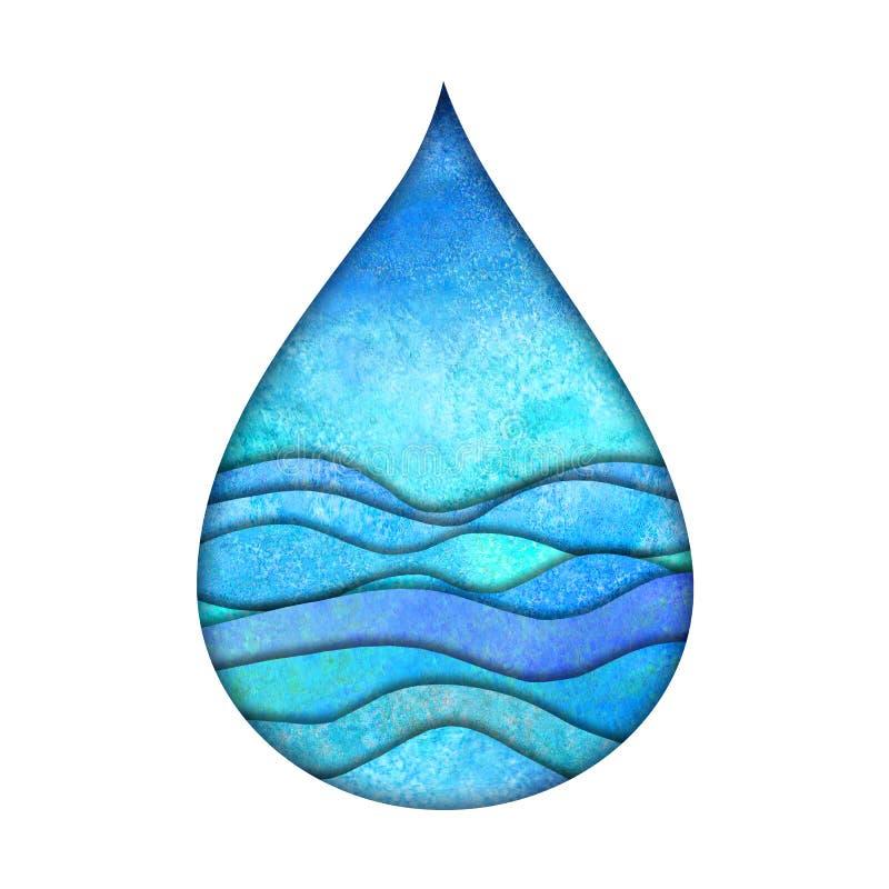 Modello di progettazione di logo della goccia di acqua Logotype blu dipinto a mano acquerello di stile del taglio della carta del fotografie stock