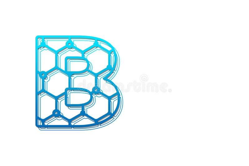 Modello di progettazione di logo della lettera B con forma di esagono Linea tipo concetto di logo di arte di progetto del logo as illustrazione di stock