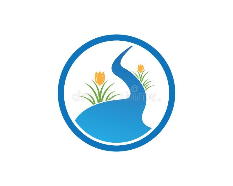 Modello di progettazione di logo della montagna del fiume royalty illustrazione gratis
