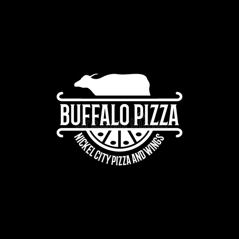 Modello di progettazione di logo della pizza o dell'alimento della Buffalo royalty illustrazione gratis