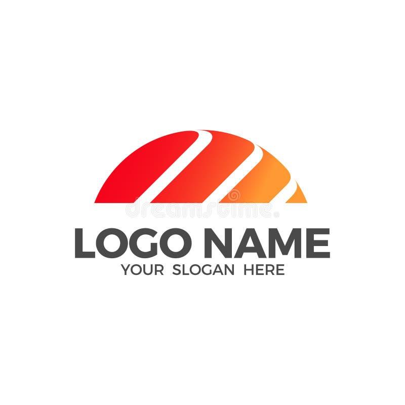 Modello di progettazione di logo della spiaggia di alba illustrazione di stock