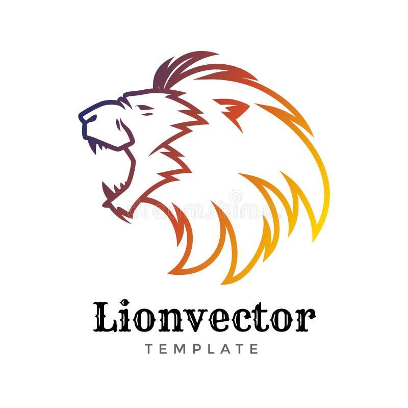 Modello di progettazione di logo dello schermo del leone Lion Head Logo Elemento per l'identità di marca, illustrazione di vettor illustrazione vettoriale