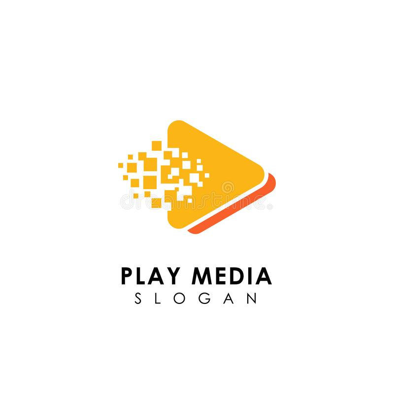 modello di progettazione di logo di media del gioco del pixel simboli dell'icona del gioco del triangolo illustrazione di stock