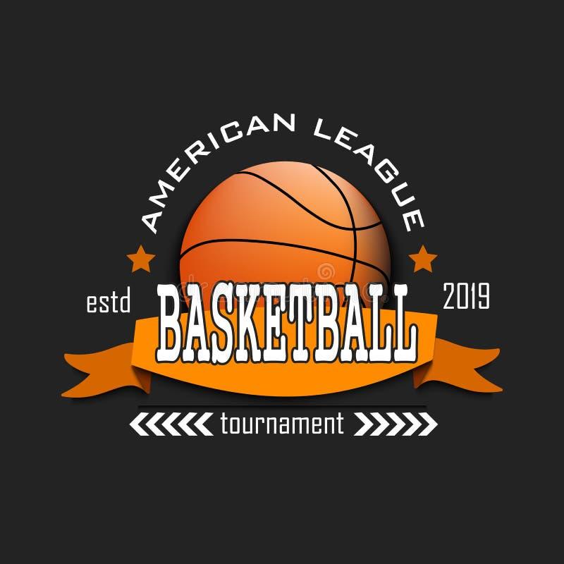 Modello di progettazione di logo di pallacanestro illustrazione vettoriale