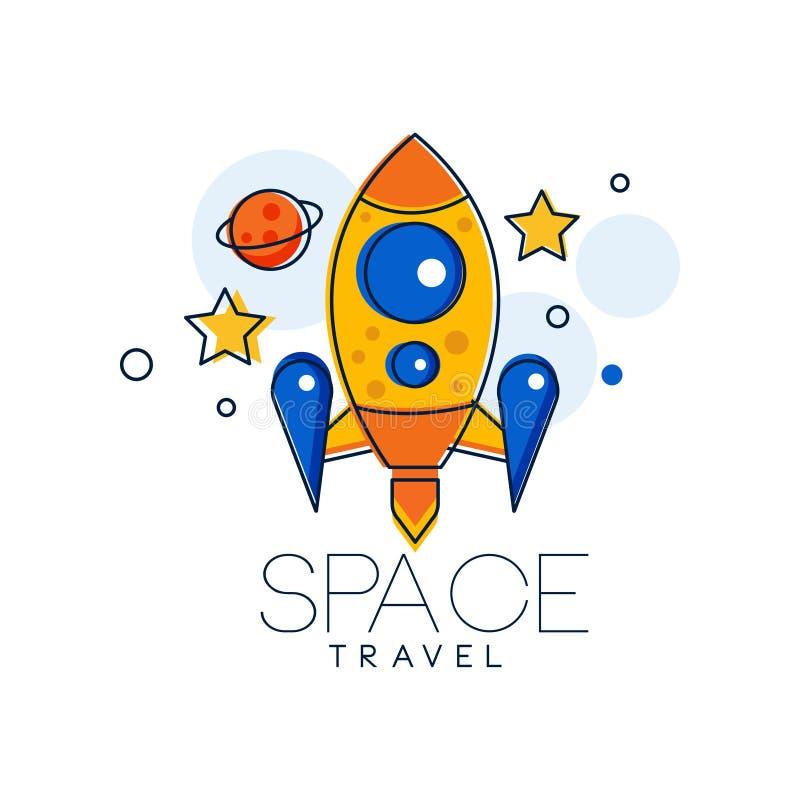 Modello di progettazione di logo di viaggio nello spazio, esplorazione dell'illustrazione di vettore dell'etichetta dello spazio  illustrazione di stock
