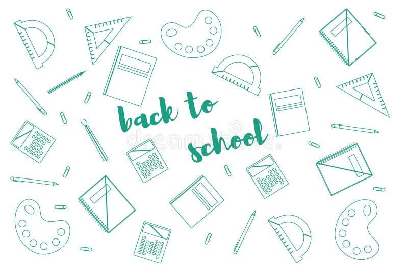 """Modello di progettazione moderna con gli accessori della scuola e """"di nuovo iscrizione alla scuola """" royalty illustrazione gratis"""