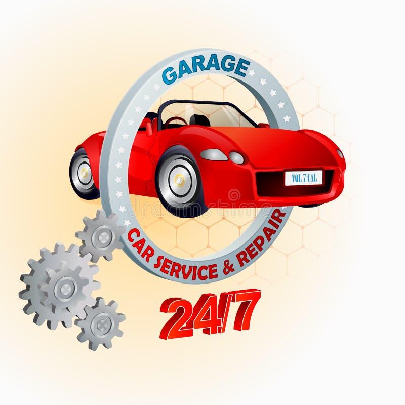 Modello di progettazione moderna per servizio dell'automobile, del garage e la riparazione, segno illustrazione di stock