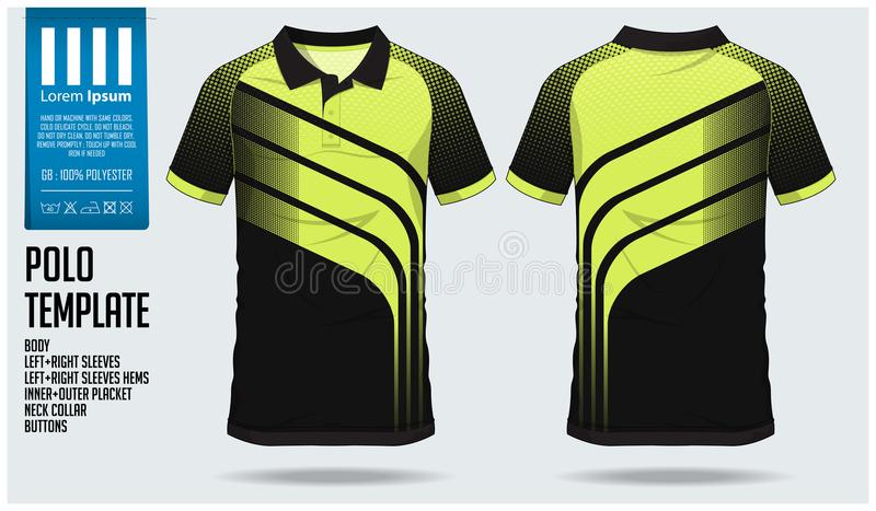 Modello di progettazione di sport della maglietta di polo per il jersey di calcio, il corredo di calcio o il club di sport Metta  illustrazione di stock